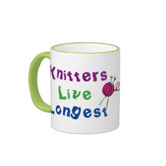 Knitters Live Longest Ringer Mug