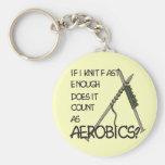 Knitting Aerobics Basic Round Button Key Ring