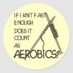Knitting Aerobics Round Sticker