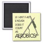 Knitting Aerobics Square Magnet