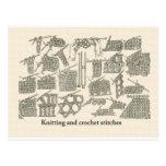 Knitting and crochet stitches postcard