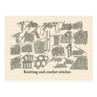 Knitting and crochet stitches postcard