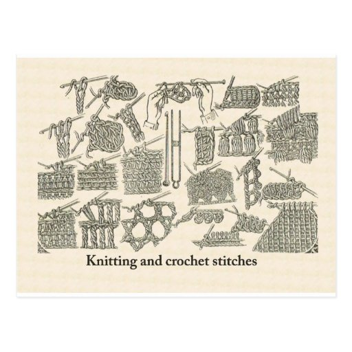 Knitting and crochet stitches postcards