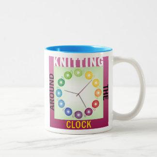 Knitting around the clock knitters mug ENGLISH