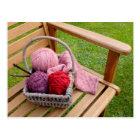Knitting basket postcard