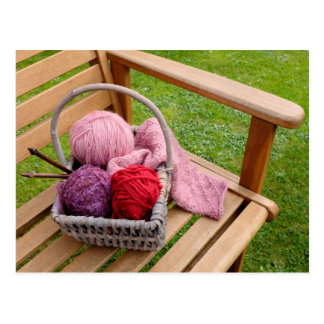 Knitting basket postcard