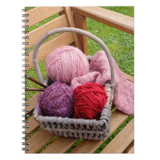 Knitting basket spiral note books