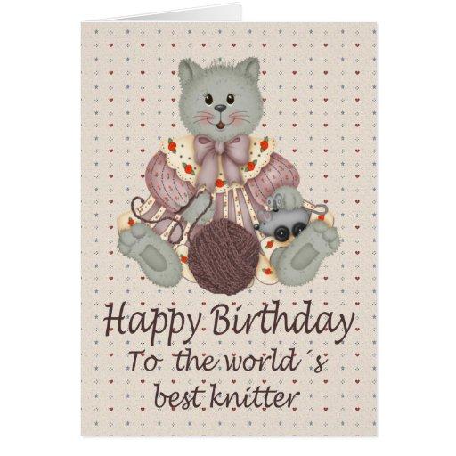 Knitting Birthday Card : Knitting cat zazzle
