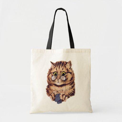 Knitting Cat Budget Tote Bag