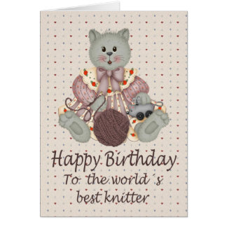 Knitting Cat Card