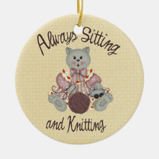 Knitting Cat Christmas Ornament