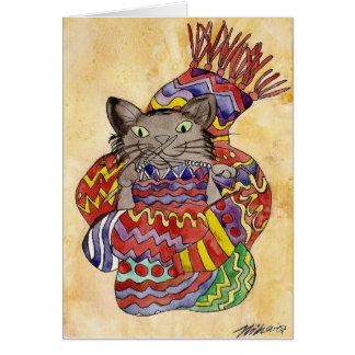 Knitting Cat Greeting Card