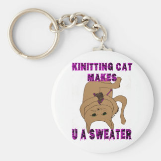 Knitting Cat Makes U A Sweater Basic Round Button Key Ring