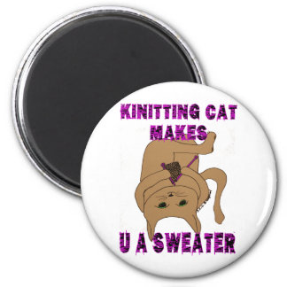 Knitting Cat Makes U A Sweater Magnets