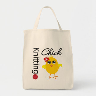 Knitting Chick 2 Grocery Tote Bag