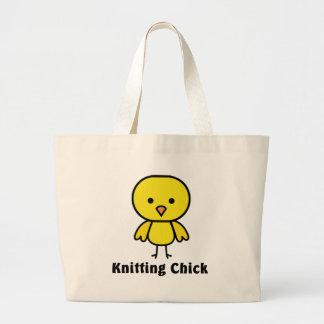Knitting Chick Large Tote Bag