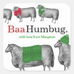 Knitting crochet Christmas sheep hat blanket scarf Square Sticker