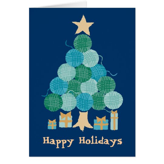 Knitting crochet yarn ball Christmas holiday tree Card