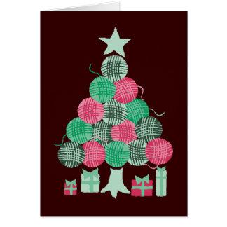Knitting crochet  yarn ball Christmas holiday tree Greeting Card