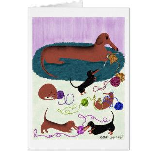 Knitting Dachshund Card