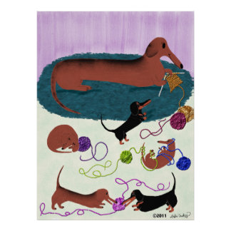 Knitting Dachshund Poster