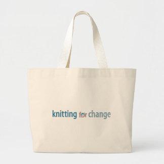 Knitting for change, tote jumbo tote bag