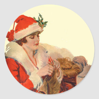 Knitting for Christmas Classic Round Sticker