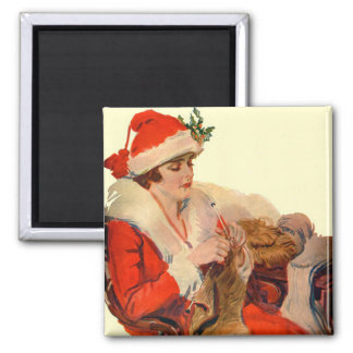 Knitting for Christmas Refrigerator Magnet