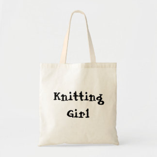 Knitting Girl Budget Tote Bag