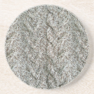 Knitting grey pattern coaster