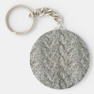 Knitting grey pattern key ring