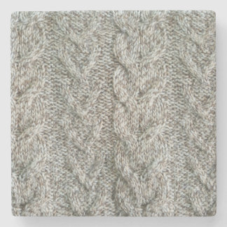 Knitting grey pattern stone coaster