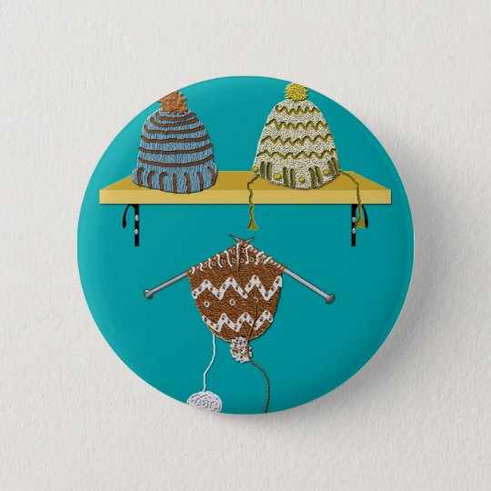 Knitting Hats for Christmas 6 Cm Round Badge