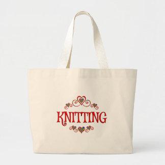 Knitting Hearts Large Tote Bag