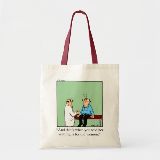 Knitting Jokes Gifts : Knitting humour tote bag gift zazzle