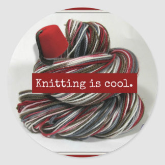 Knitting is Cool Classic Round Sticker
