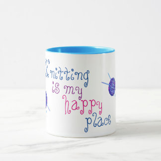 Knitting is my happy place mug