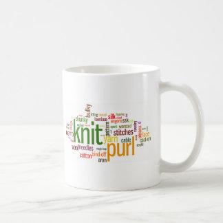 Knitting Lexicon - words for knitters!  Knit On! Basic White Mug