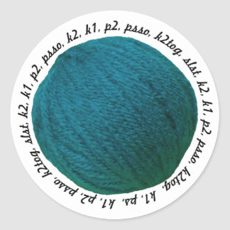 Knitting Lingo Yarn Ball Teal Crafts Round Sticker