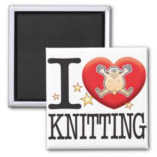 Knitting Love Man Square Magnet