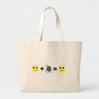 knitting makes me happy large tote bag