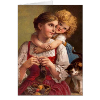 Knitting mother with child and cat card