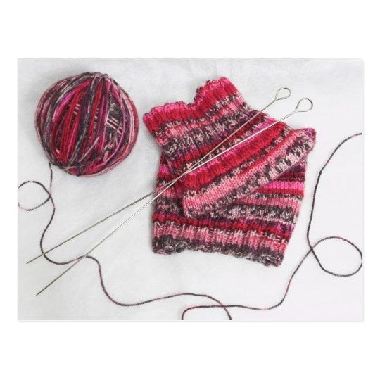 Knitting Needles and Yarn Ball Postcard