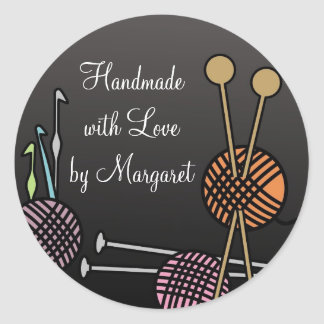 Knitting needles crochet hooks yarn gift tags round sticker