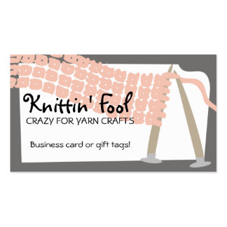 Knitting needles scarf pink grey business cards... pack of standard business cards