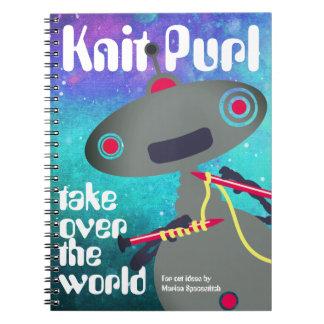 Knitting needles yarn robot alien pattern notebook
