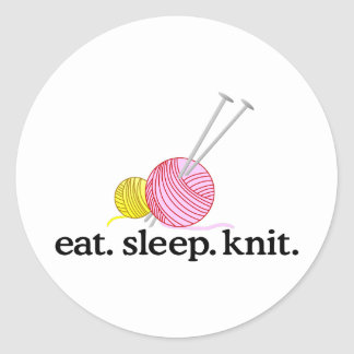 Knitting Needles & Yarn Round Sticker