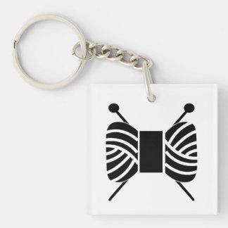 Knitting Needles & Yarn Skein Crafts Single-Sided Square Acrylic Key Ring
