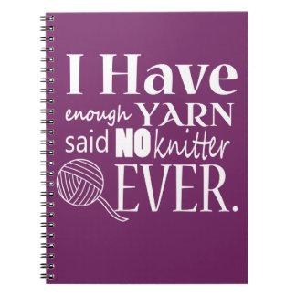 Knitting • Not Enough Yarn • Crafts {Dark} Spiral Notebook