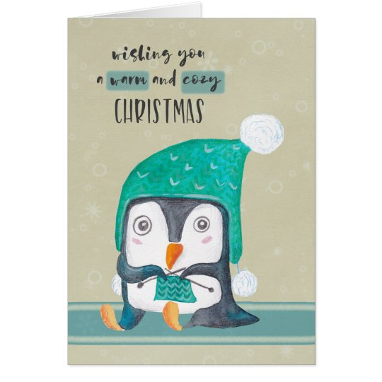 Knitting Penguin Warm and Cosy Christmas Card